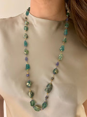 ELLEN HOFFMAN DESIGNS 18-KARAT GOLD ANCIENT ROMAN GLASS, TANZANITE, ETHIOPIAN OPAL, PAVE DIAMOND NECKLACE
