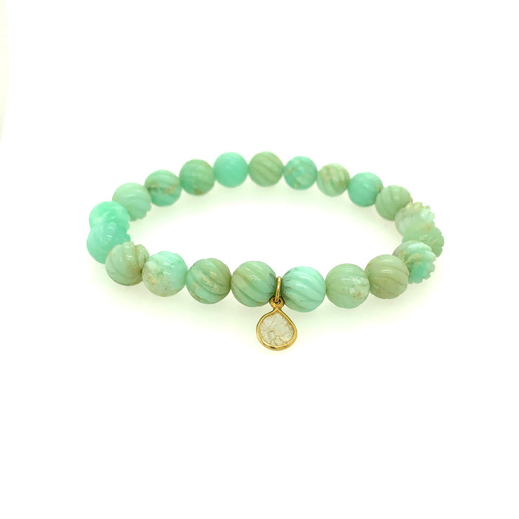 ELLEN HOFFMAN DESIGNS CARVED CHRYSOPRASE, DIAMOND BRACELET