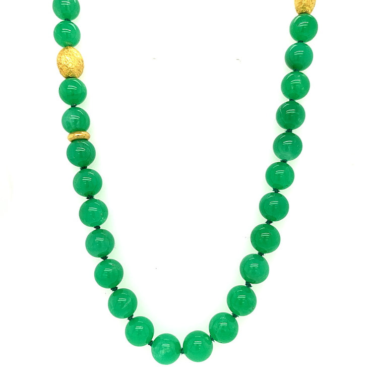 ELLEN HOFFMAN DESIGNS HAND-HAMMERED 20-KARAT GOLD AND CHRYSOPRASE NECKLACE