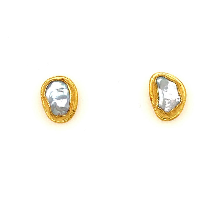 ELLEN HOFFMAN DESIGNS 22K GOLD SMALL BAROQUE PEARL POST EARRINGS