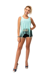 LIFE ON THE FRINGE Crop Tank Top-Mint