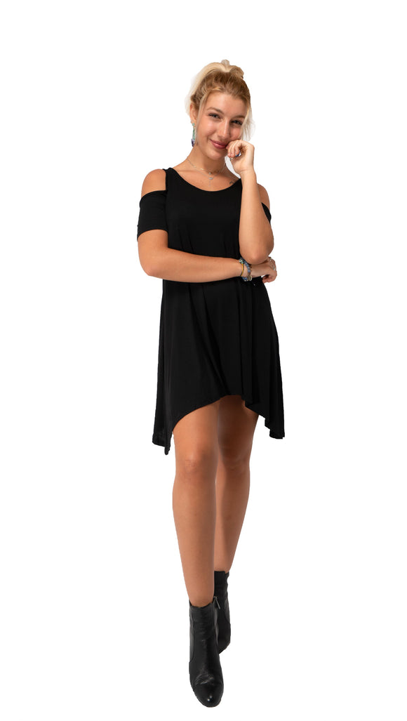 ICE PRINCESS Short Sleeve Mini Dress-Black