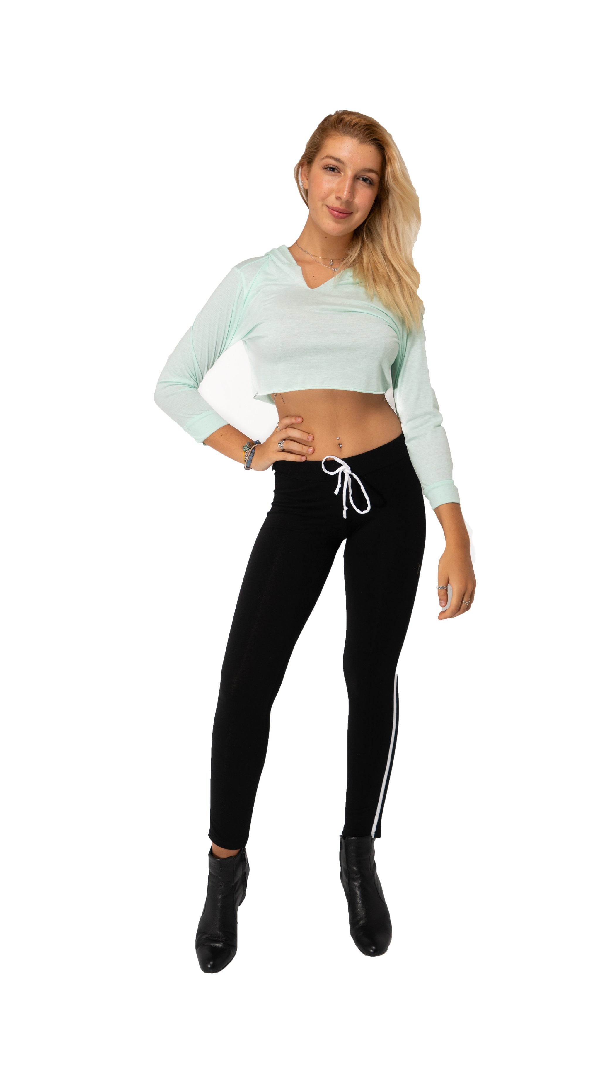 CUT THE CROP Top Long Sleeves Hoodie