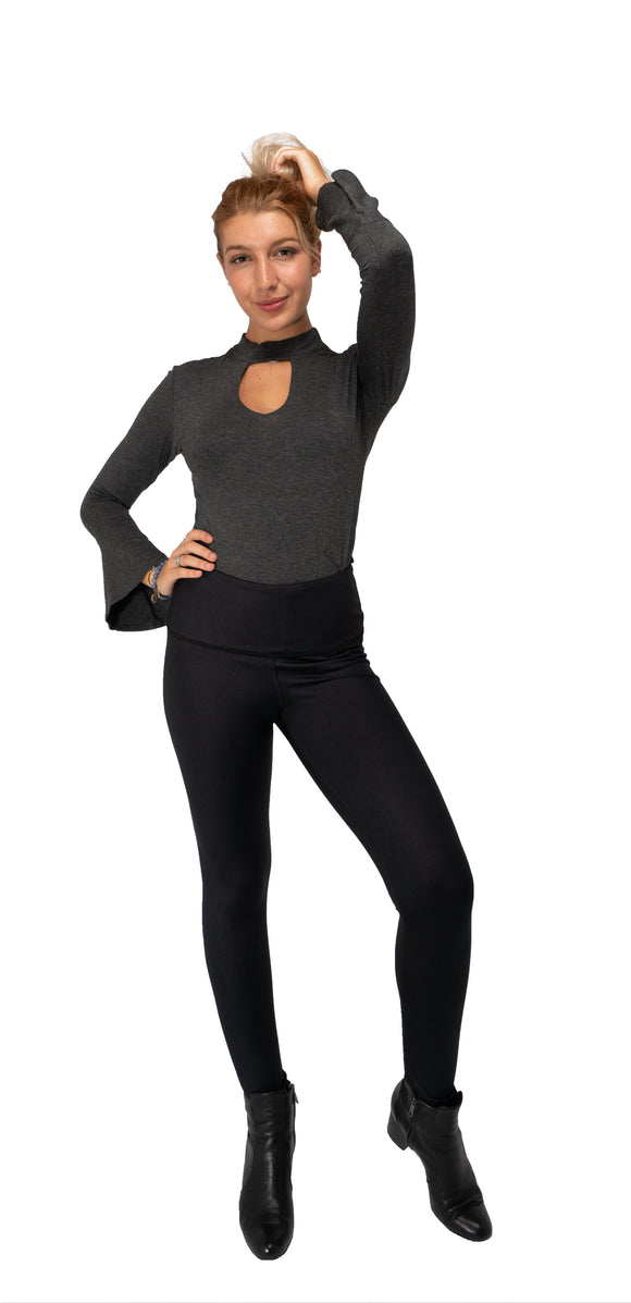 TOP NOTCH Long Sleeves Choker Top-Charcoal Gray