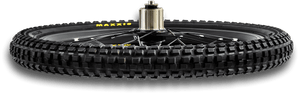28h double walled rim, with four bearing cassette hub for immediate pick-up and zero bearing compression under load