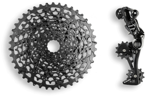 wide gear range custom 9 speed cassette and a sram gx mech to keep everything from harms way