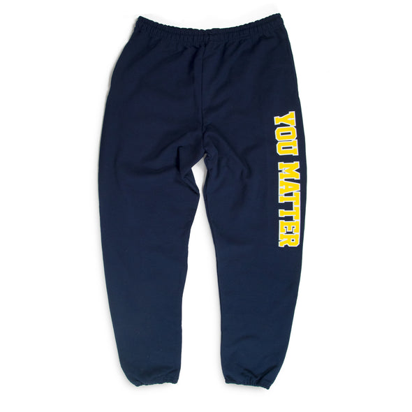 You Matter University Sweatpants - Navy/Yellow