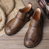 Large Size Hand Stitching Genuine Leather Non-slip Retro Ankle Boots