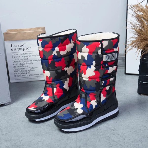 Men's And Women's Winter Warm Thickening Fur Lined Snow Boots