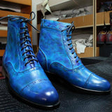 Men's Fashion Leather Colorful Martin Boots