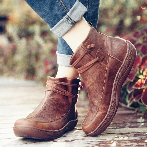Women Coupons Elastic Band Slip Resistant Wide Foot Flat Slip On Casual Ankle Boots