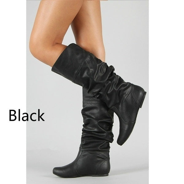 Women Flat Solid Color Knee High Boots Non-slip Artificial Leather Booties