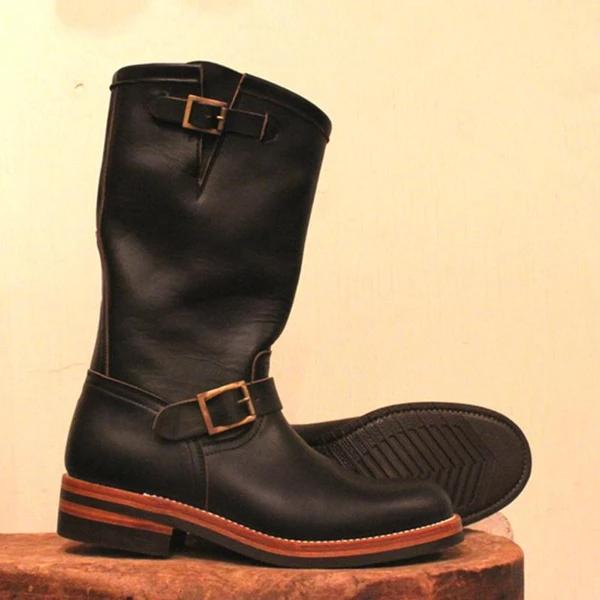 Men's Genuine Leather Buckle High Top Boots