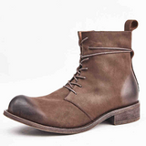 Retro Round Toe Genuine Leather Tooling Military Boots
