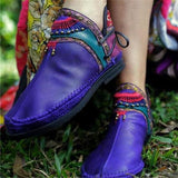Women Handmade Comfortable Casual Round Toe Flat Boots