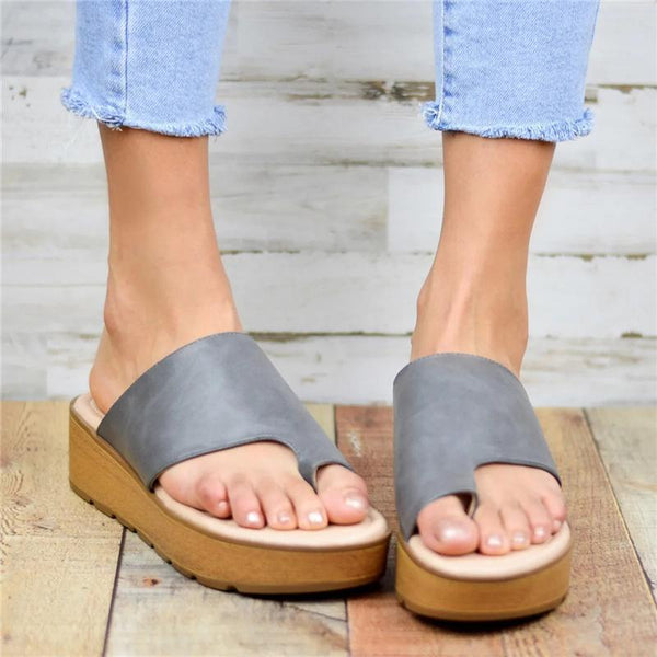 Chic Open Toe Comfort Sole Platform Wedges Slippers