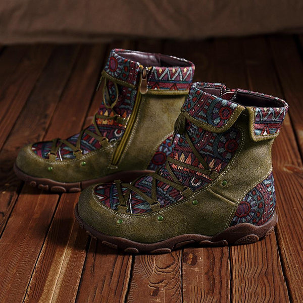 Women Retro Casual Splicing Jacquard Lace Up Zipper Genuine Leather Comfy Flat Boots