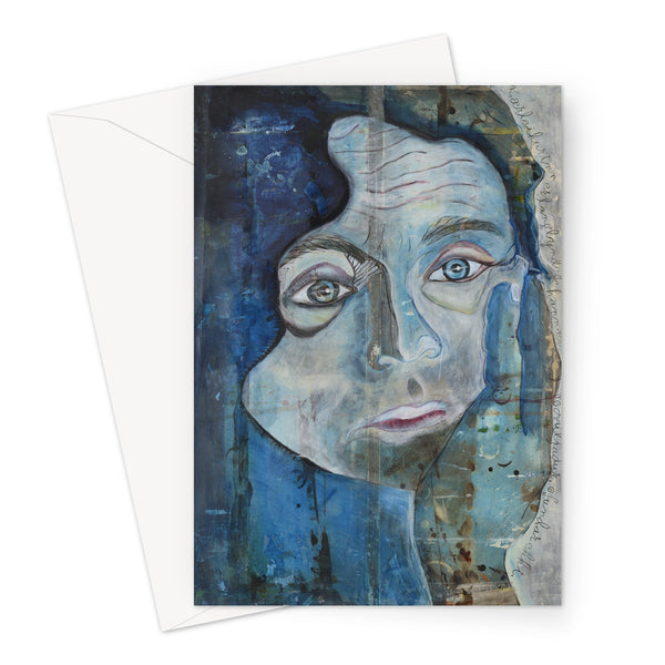 A portrait of a man painted in blue indigo color on A5 greeting. Gallery Sesselja card.