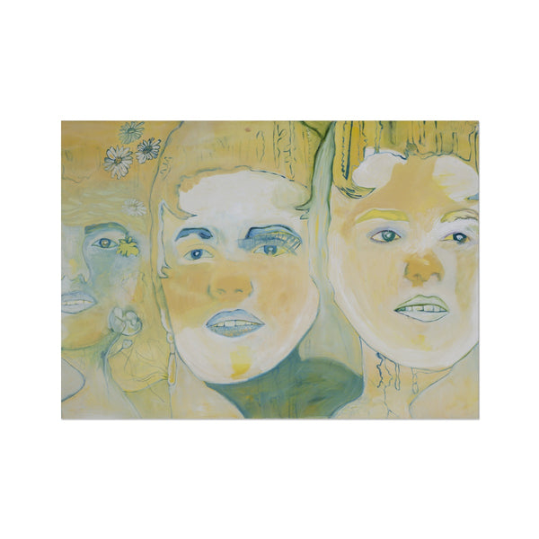 Three faces is a portrait printed on fine art paper by the Icelandic painter Sesselja Tomasdottir.