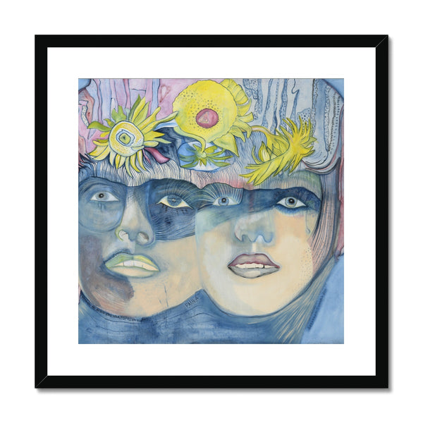 A portrait of a mother and a daughter, in framed and mounted print. The Icelandic painter Sesselja Tomasdottir painted the portrait influenced by the roman Paula by Isabel Allende.