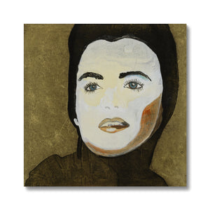 A portrait of a women painted with an oil painting printed on canvas. Gallery Sesselja