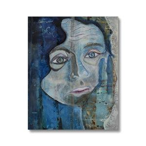 A portrait of a man painted in indigo color on canvas. Gallery Sesselja