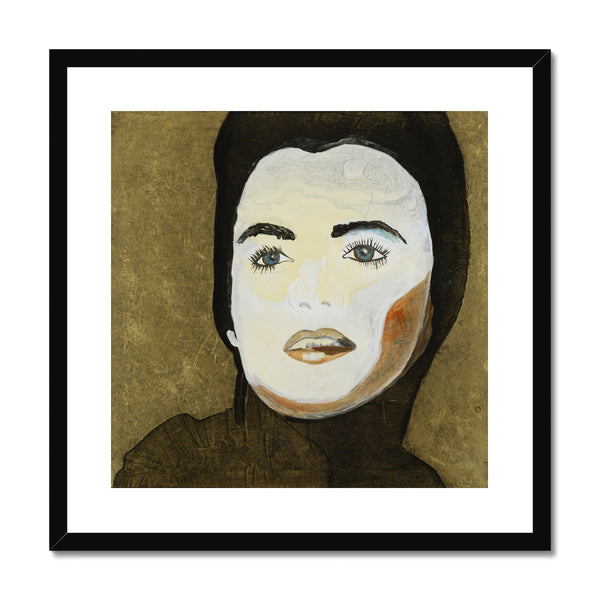 A portrait of a women similar to Marlene Monroe on framed and mounted print. Gallery Sesselja