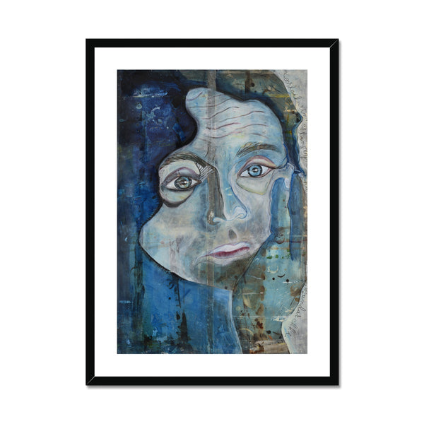 A portrait of a man painted in blue indigo color on framed and mounted. Gallery Sesseljaprint.