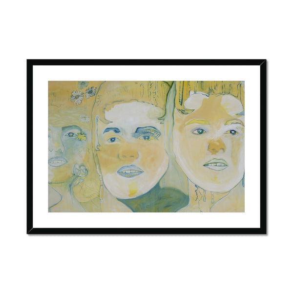 Three faces is a portrait printed in framed and mounted print by the Icelandic painter Sesselja Tomasdottir.