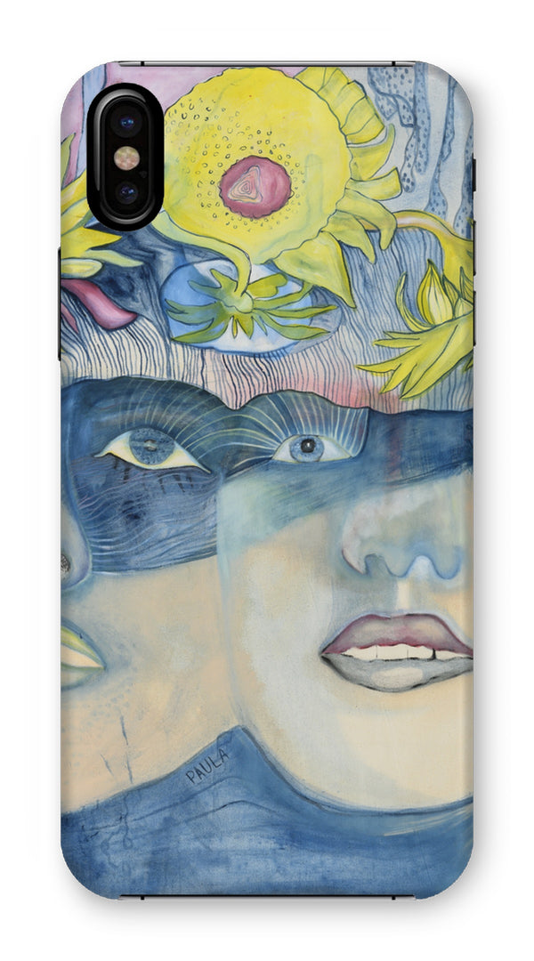 A portrait of a mother and a daughter, printed on a phone casae. The Icelandic painter Sesselja Tomasdottir painted the portrait influenced by the roman Paula by Isabel Allende.