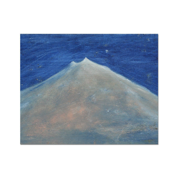 A painting of Snæfellsjökull in Iceland, oil painting on canvas. A contemporary art painted by the Icelandic painter Sesselja Tomasdottir.