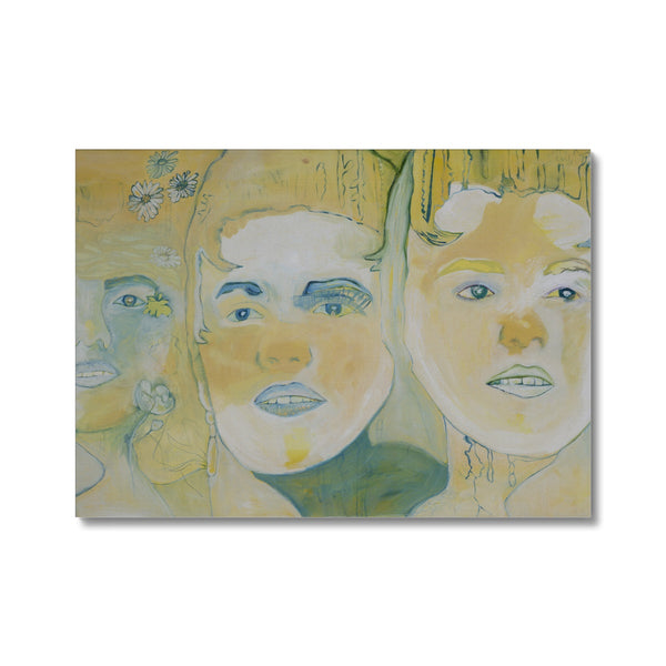 hree faces is a portrait painted with oil painting on canvas by the Icelandic painter Sesselja Tomasdottir.