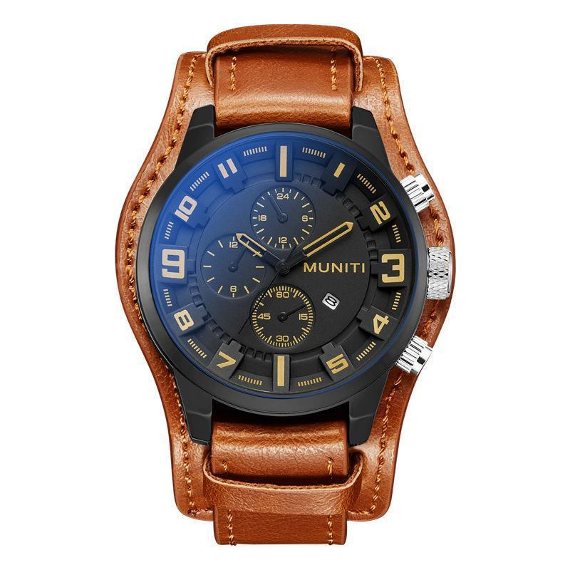 MUNITI newest leather waterproof business leisure watch - onekfashion