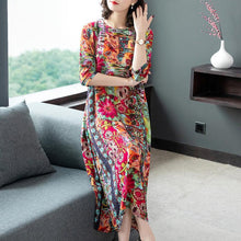 Load image into Gallery viewer, Hot Sale  Fashion Silk Floral Dress