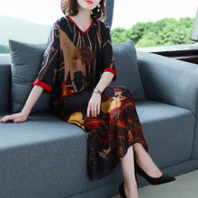 Load image into Gallery viewer, Newest big-szie silk V-neck printed dress