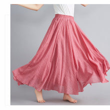 Load image into Gallery viewer, Mori girl literary cotton and linen skirt elastic waist linen A-line skirt