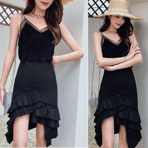 Casual Sling Top and Ruffle Skirt 2Pcs Suit - onekfashion