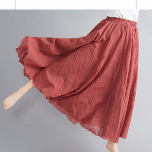 Mori girl literary cotton and linen skirt elastic waist linen A-line skirt
