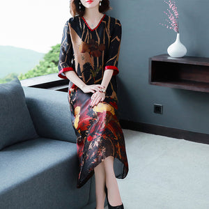 Newest big-szie silk V-neck printed dress