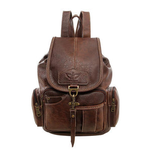 French branded leather backpack - onekfashion