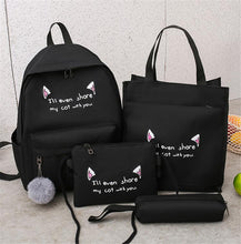 Load image into Gallery viewer, 4 Pcs/Set Women Canvas Leisure School Backpack