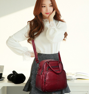 【Hot sale】Women's Multi Function Leather Backpack Shoulder Bag Fashion Handbag