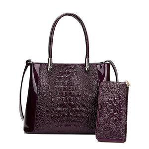 Crocodile lady handbag from Thailand coming with a free wallet - onekfashion