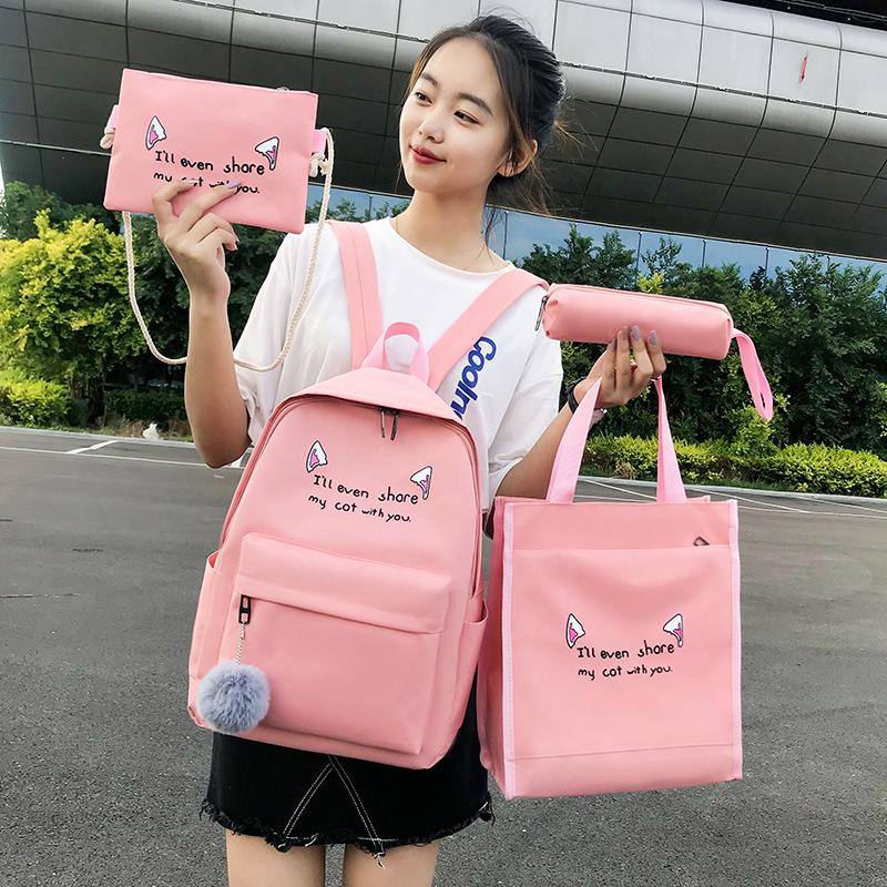 4 Pcs/Set Women Canvas Leisure School Backpack