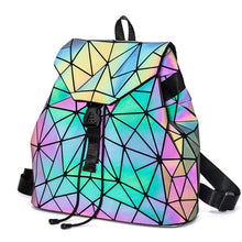Load image into Gallery viewer, Luminous Geometric Plaid Sequin Female Backpacks
