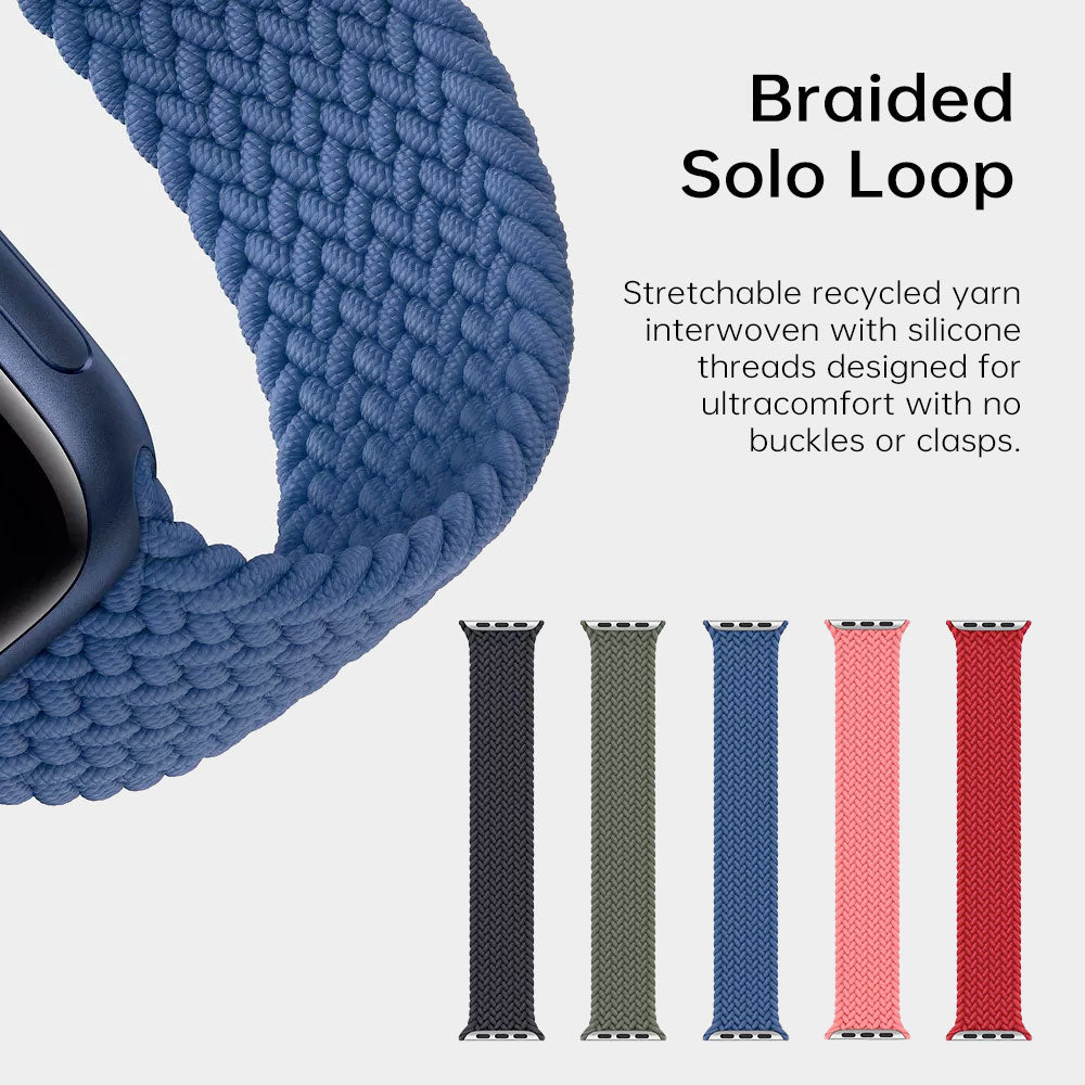 Braided Solo Loop Strap For Apple Watch Band Elastic Bracelet