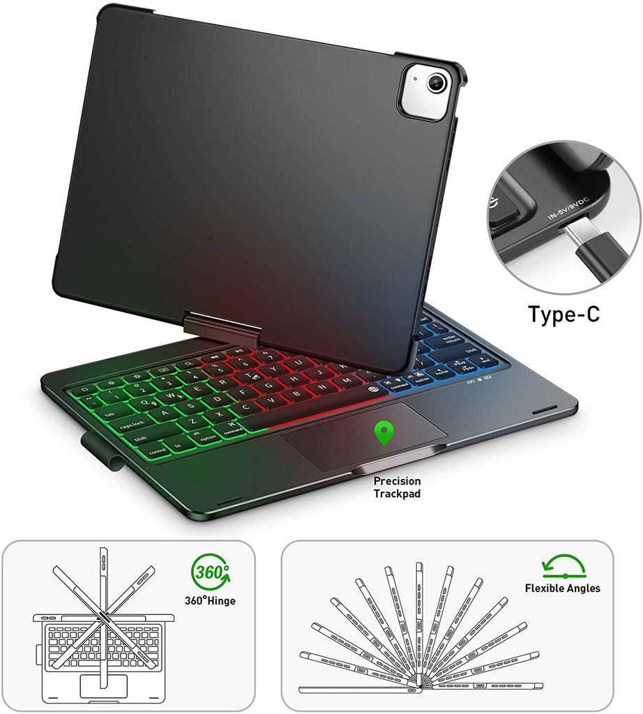 "iPad Keyboard Case for iPad Air 4 10.9"" 2020 with 360 Screen Rotate"