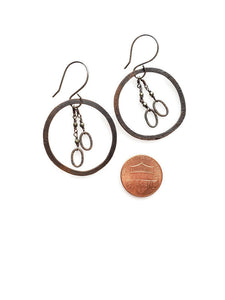 Sterling silver, copper, with pyrite, hoop dangle earnings