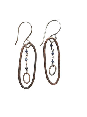 Dangle, silver, copper and sapphire earrings
