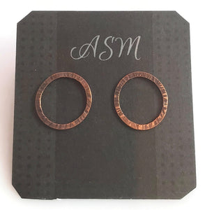 Copper and sterling silver stud earrings